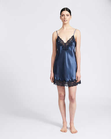 Silk Chemise with Lace - Steel Blue/Navy