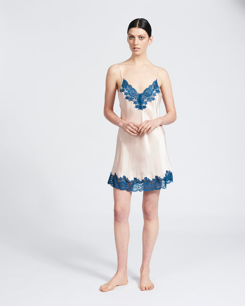 Silk Chemise with Lace - Pink/Teal