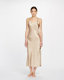 Silk V Neck Long Nite - Creme