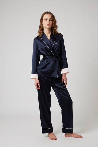 Double Breasted Silk Pyjama - French Navy