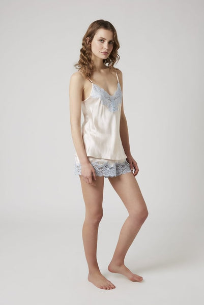 Silk Short with Lace - Vanilla