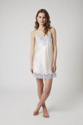 Silk Chemise with Lace - Vanilla