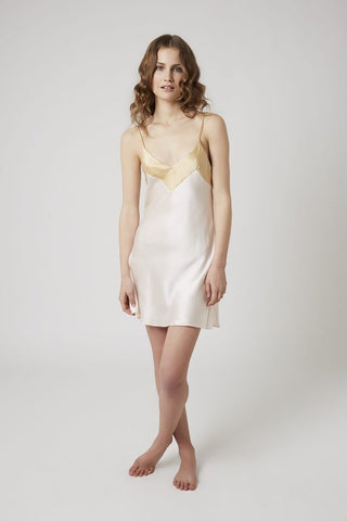Silk V Neck Chemise with Contrast - Vanilla