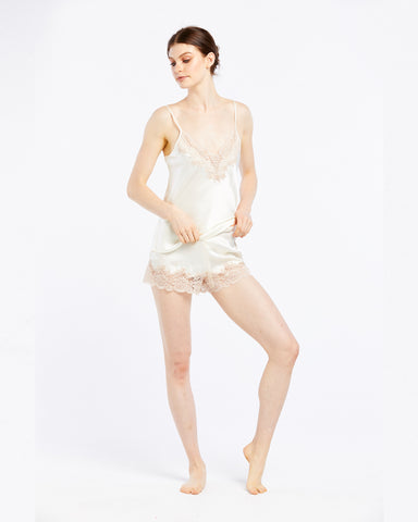 Silk Short with Lace - Creme/Dawn
