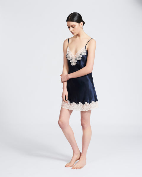 Silk Chemise with Lace - Navy/Pink