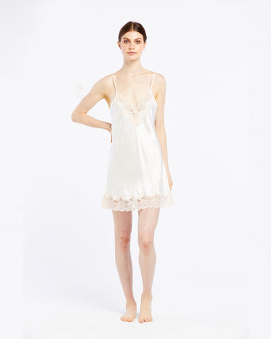 Silk Chemise with Lace - Creme/Dawn