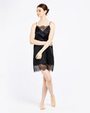 Silk Chemise with Chantilly Lace - Black