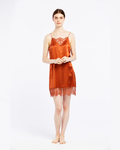 Silk Chemise with Chantilly Lace - Amber