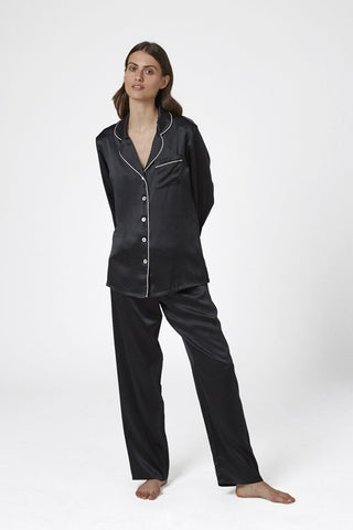 Silk Pyjama with Contrast Piping
