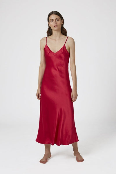 Silk V Neck Long Nite - Ruby