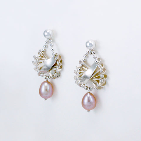 scalloped earrings, silver & natural pink freshwater pearl