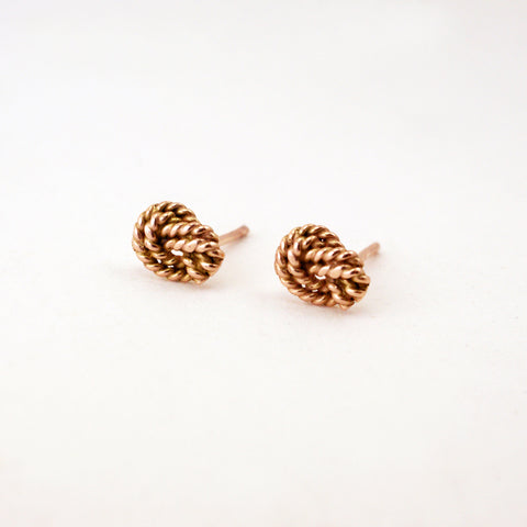 love knot studs, 14kt rose gold