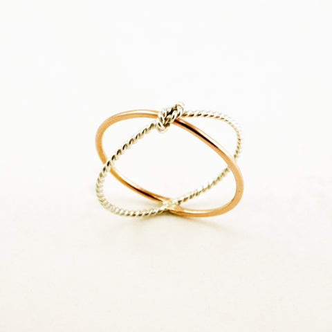 knot cross ring, silver & 14kt rose gold