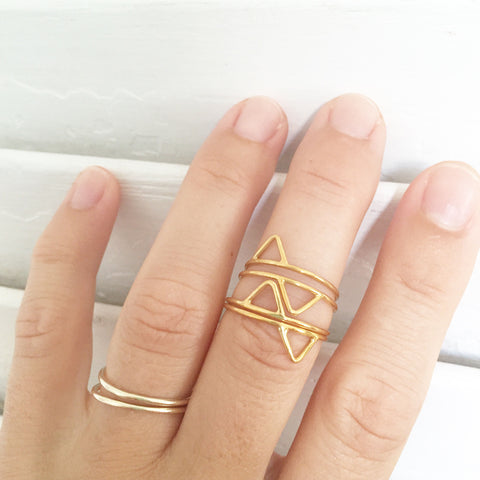 tabs triangle rings in gold vermeil