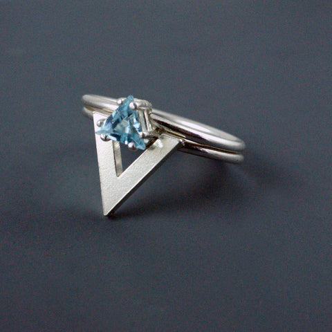 silver and blue topaz triangle ring