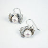 layered earrings, oxidized silver & natural freshwater pearl