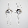 layered earrings, silver & grey freshwater pearl