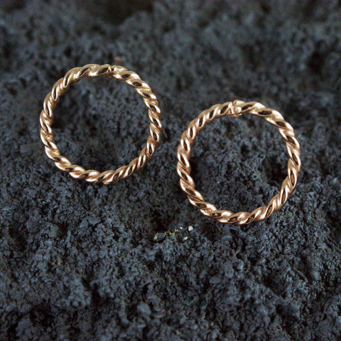 large rope circle studs, 14kt rose gold