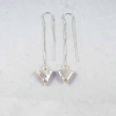 Bermuda Triangle pearl threader earrings