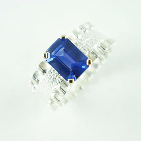 double ruffle ring with Sri Lankan blue sapphire, price available on request