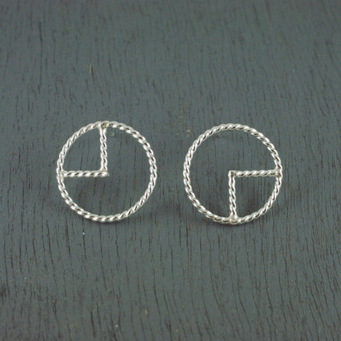 1/4 rope circle studs, silver