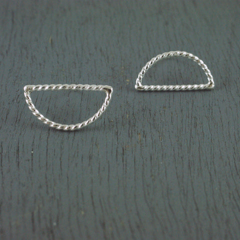 half moon rope studs, silver