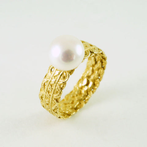 lace ring, gold vermeil and natural freshwater pearl
