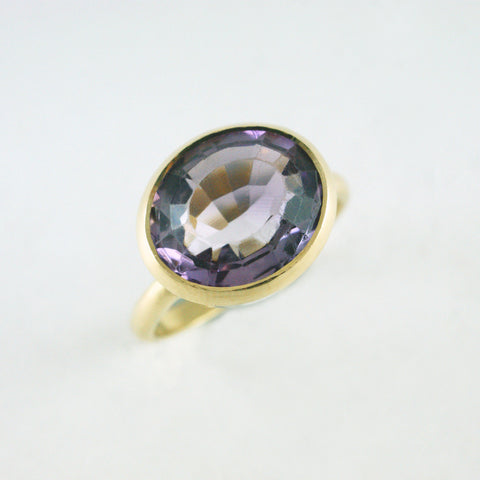 14ct yellow gold + amethyst ring, price available on request
