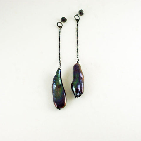 Biwa pearl drop earrings