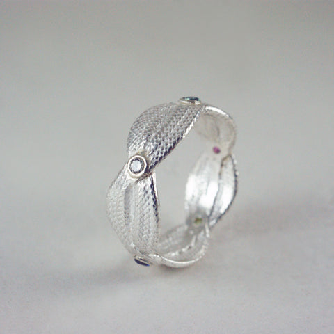 silver & birthstone ring