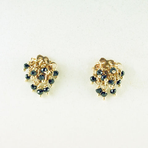 black spinel earrings, 14kt yellow gold