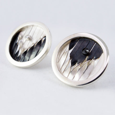 round embroidery studs/cufflinks, oxidised silver, gold vermeil, black diamond & citrine