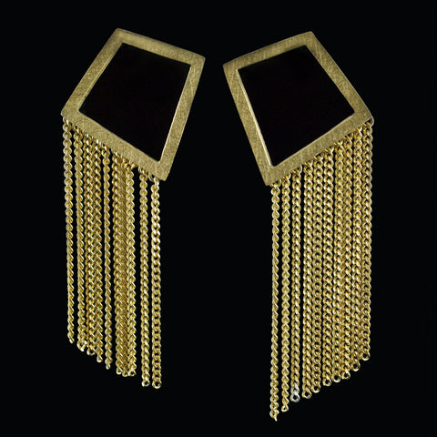 Geometric half fringe earrings