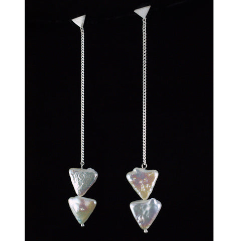 double bermuda triangle pearl earrings