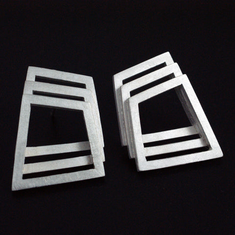 Triple geometric studs/cufflinks, silver (horizontal)