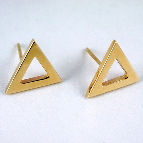 Bermuda triangle studs yellow gold vermeil