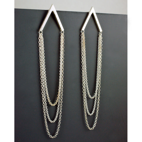 Gable earrings with 3x strands of chain