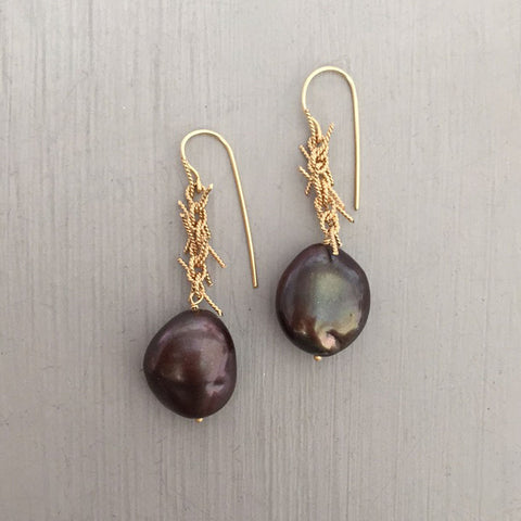 lots of knots earrings, 14kt yellow gold & chocolate pearls