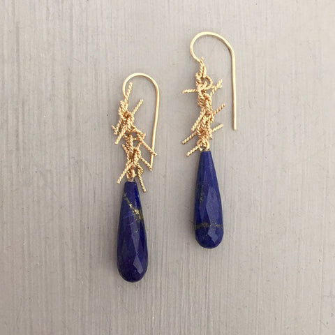 lots of knots earrings, 14kt yellow gold & lapis lazuli