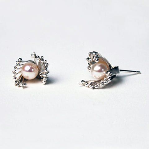 Layered studs, silver & natural freshwater pearls