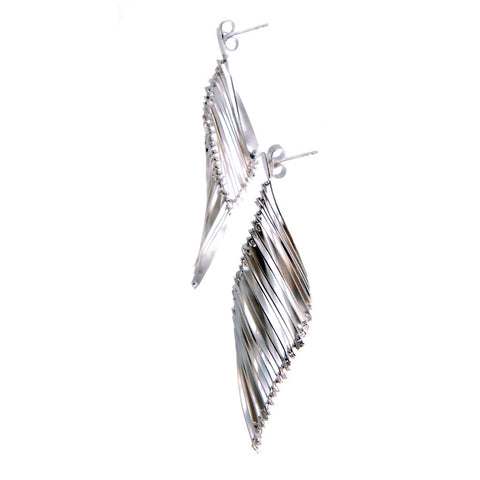 Twill earrings, silver (feather)