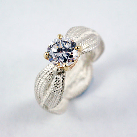 braid engagement ring, white, yellow gold and diamond, price available on request