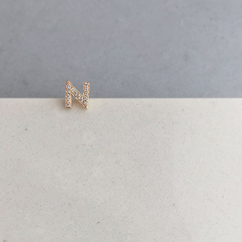 single diamond initial stud