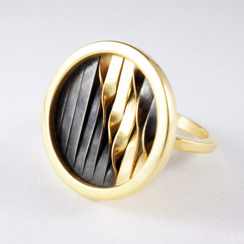 round embroidery ring, oxidized silver and gold vemeil