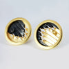 round emboidery studs/cufflinks, oxidised silver, gold vermeil, black diamond & citrine