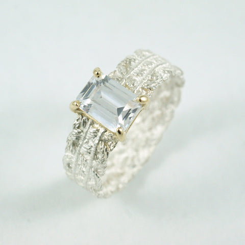 lace engagement ring, white, yellow gold and diamond, price available on request