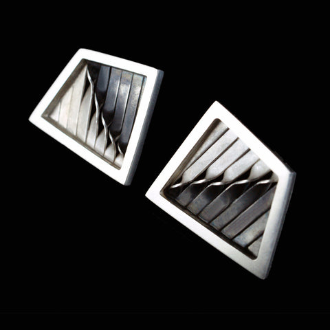 Geometric embroidery studs/cufflinks, oxidised and bright silver