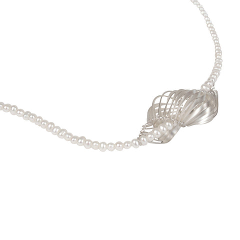 single scalloped pendant on pearls