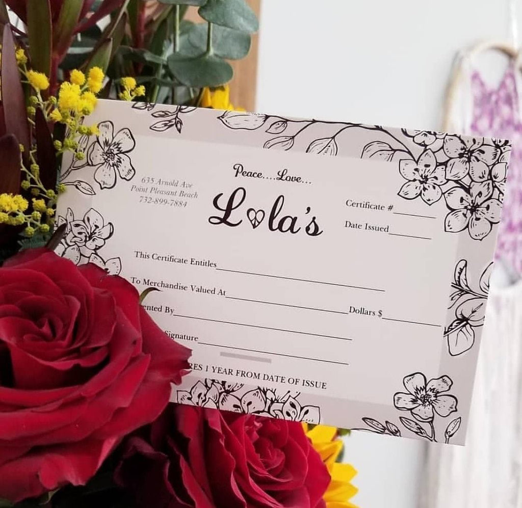 Lola's Gift Certificate $25
