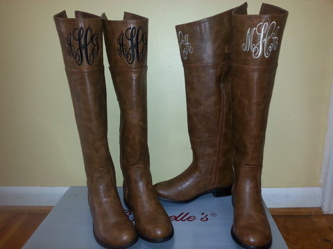 Monica Monogrammed Brown Boots